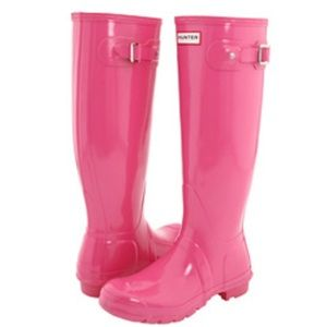 HUNTER original high gloss fuschia boots, size 9